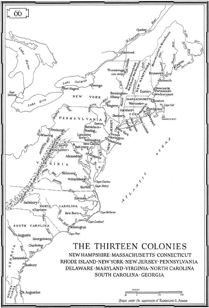 13 Colonies Map on